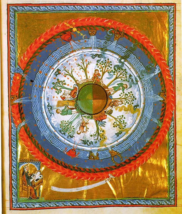 12th-century depiction of a spherical Earth with the four seasons. (Hildegard von Bingen / Public Domain)