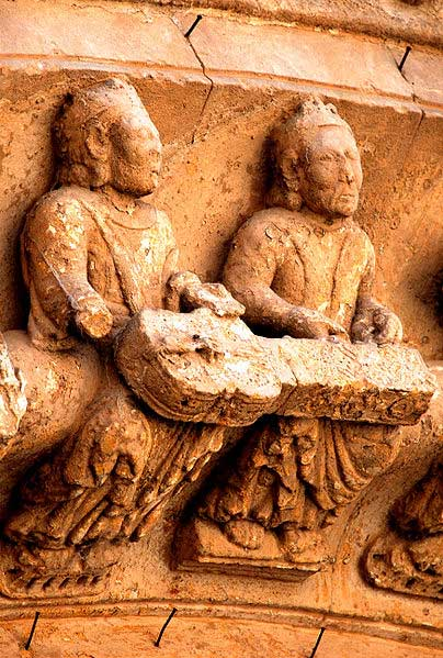 12th century relief indicating two players needed to play the organistrum. Church of Toro, Zamora, Spain.