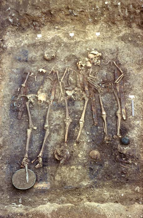 Some of the 13 skeletons with grave goods that were unearthed at the site. (Image: Landesamt für Denkmalpflege in RP Stuttgart)
