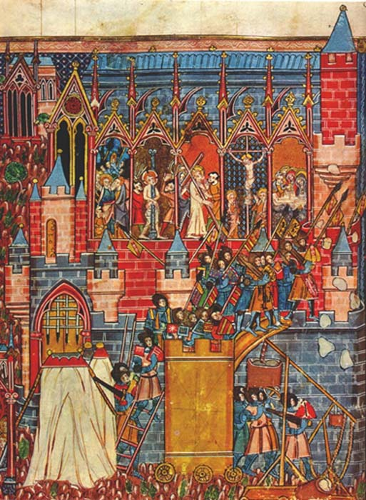 13th-century miniature depicting the siege of Jerusalem 1099