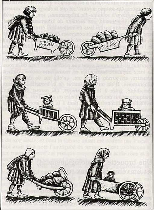 Examples of 13th century wheelbarrow models.