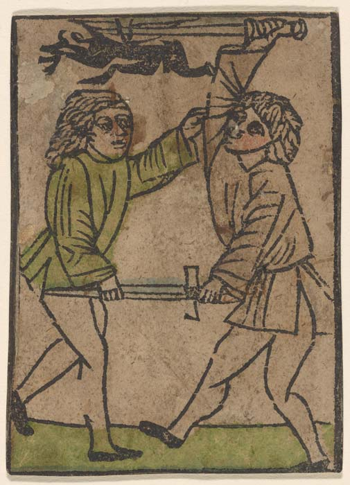 A 1450 illustration of two men fighting. (The New York Public Library)