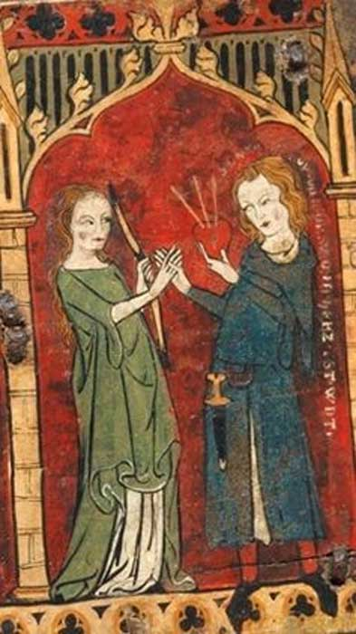 On this 14th-century coffret, a man surrenders his heart to Lady Love.