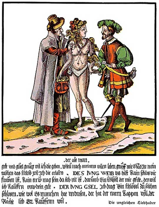 A 16th-century German satirical colored woodcut whose general theme is the uselessness of chastity belts in ensuring the faithfulness of beautiful young wives married to old ugly husbands. (AnonMoos / Public Domain)