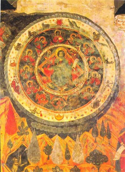 17th-century fresco, Cathedral of Living Pillar, Georgia of Christ in the Zodiac circle