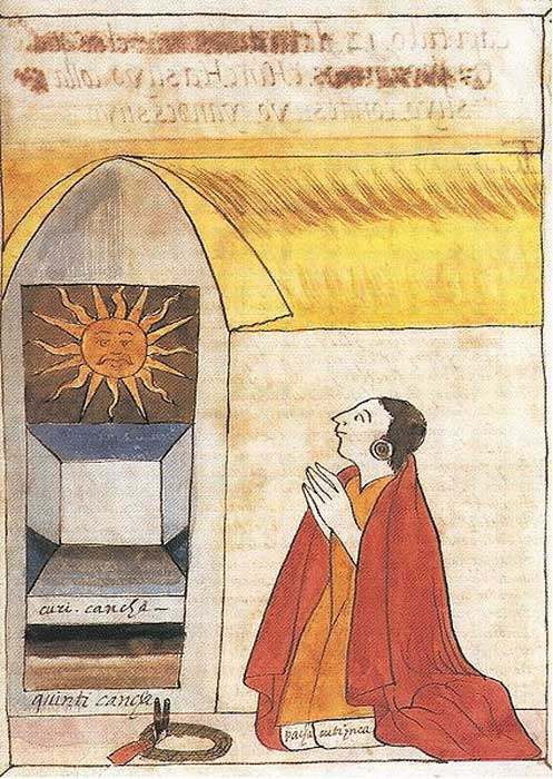 17th century illustration by Martín de Murúa of the Inca Pachacútec praying to Inti, the sun god.