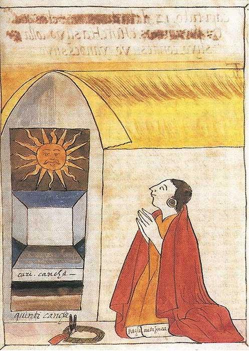 17th century illustration by Martín de Murúa of the Inca Pachacútec praying to Inti, the sun god.