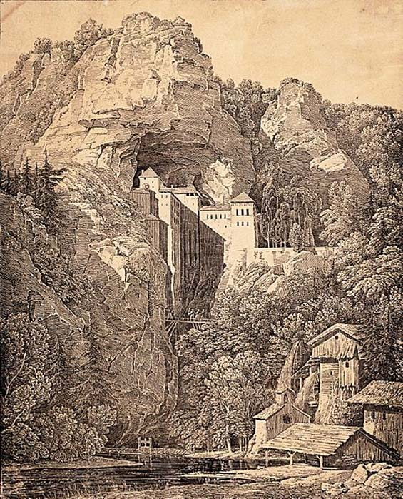 1816 lithograph of the castle by Karl Friedrich Schinkel.