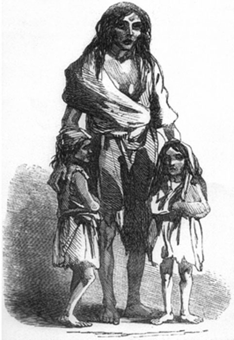 1849 depiction of Bridget O'Donnell and her two children during the Irish famine. (Chris 73 / Public Domain)