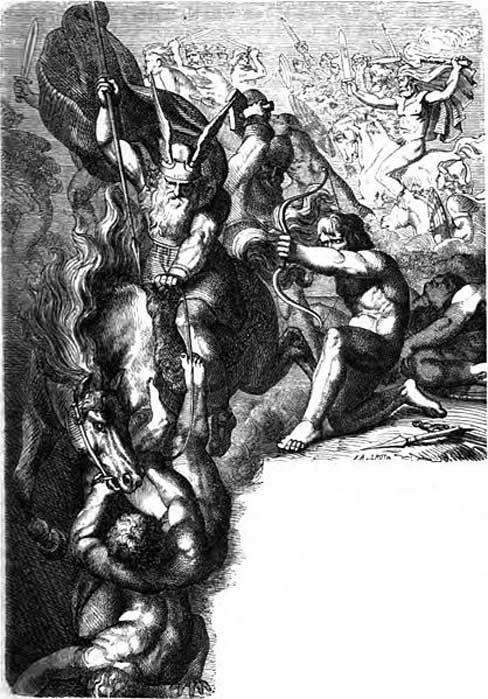 1882 illustration by Carl Ehrenberg of the Æsir fighting against the Vanir during the Æsir-Vanir War. (Public Domain)