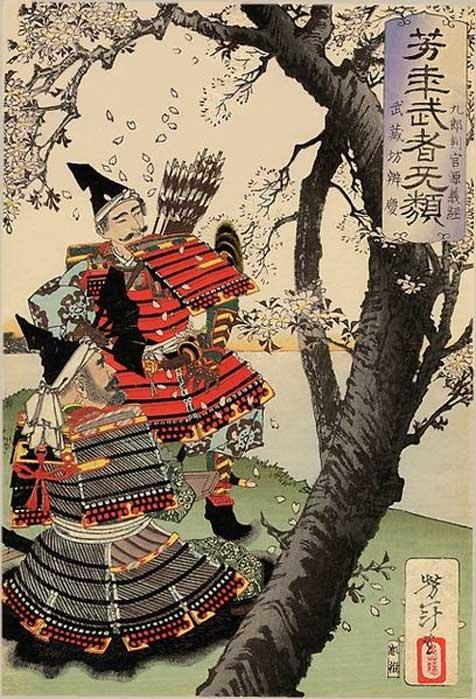 1885 Woodblock print by Tsukioka Yoshitoshi of Yoshitsune and Musashibō Benkei under a cherry tree.