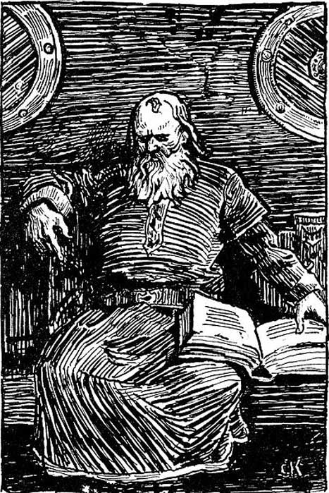 1890s illustration of Snorre Sturluson by Christian Krogh. (Public Domain)