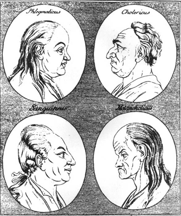 18th century depiction of the four temperaments: Phlegmatic and choleric (above) Sanguine and melancholic (below).