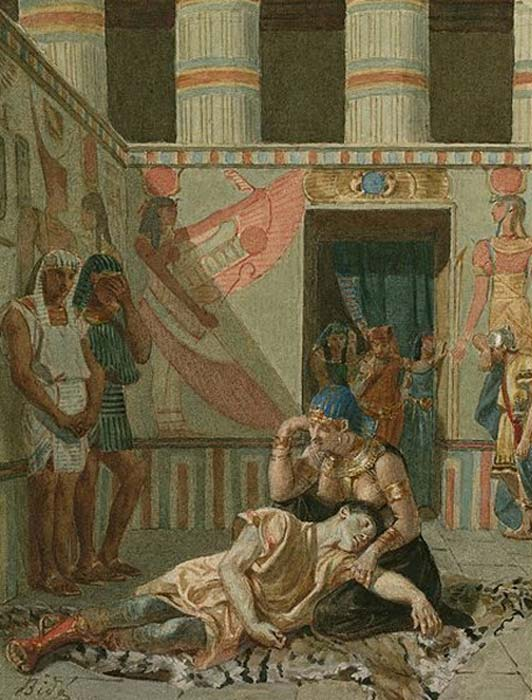 A late 19th century painting of Act IV, Scene 15 of Shakespeare's Antony and Cleopatra: Cleopatra holds Antony as he dies. By Alexandre Bidas.