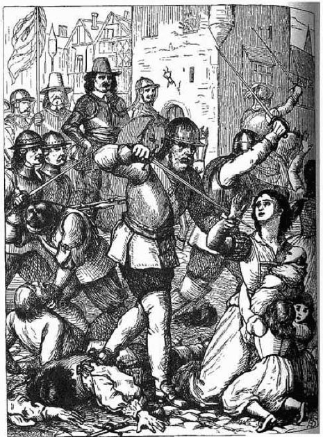 A 19th-century representation of the massacre at Drogheda, led by Oliver Cromwell, 1649. (OrgeBot / Public Domain)