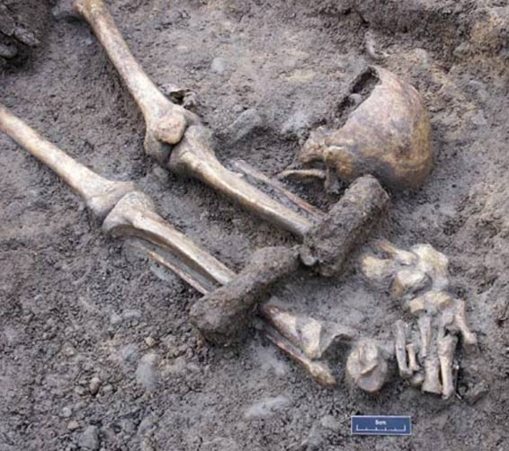 2nd century AD skeleton with misplaced skull and heavy lead leg-shackles found in York, England