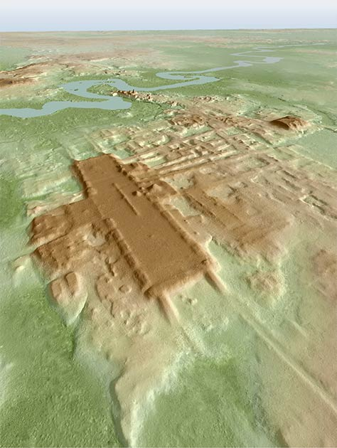 3D image of the site of Aguada Fénix based on LIDAR. (Takeshi Inomata / Nature )
