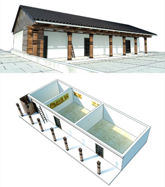 3D model of the house with the murals highlighted (Image: Reconstruction by A. Kaseja; 3D scanning by B. Pilarski / Antiquity Publications Ltd)