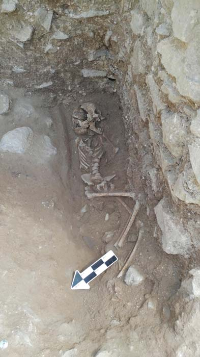 A 10-year-old was discovered lying on its side in a fifth-century Italian cemetery previously believed to be designated for babies, toddlers and unborn fetuses. (Photo courtesy of David Pickel/Stanford University)