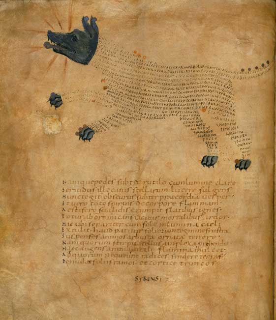 "A 9th-century astronomical manuscript, including an illustration of the constellation ""Sirius"""