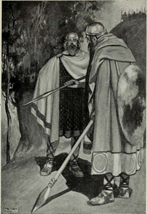 A Fir Bolg tale: The expulsion of King Bres, from a 1910 illustration.(Public Domain)