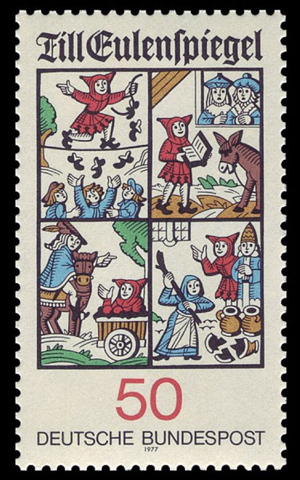 A German stamp depicting some of Till Eulenspiegel's adventures. (Public Domain)