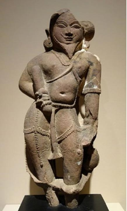 A Hermit (Rishi), India was an inspired poet of Ṛegvedic hymns. They were responsible for tending sacrificial fires and were said to invoke gods with poetry. 11th century AD, pink sandstone.