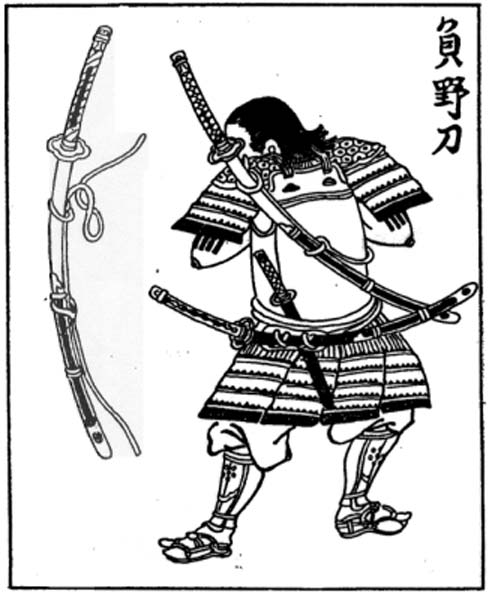 A Japanese Edo period wood block print of a samurai carrying a nodachi (field sword) on his back.
