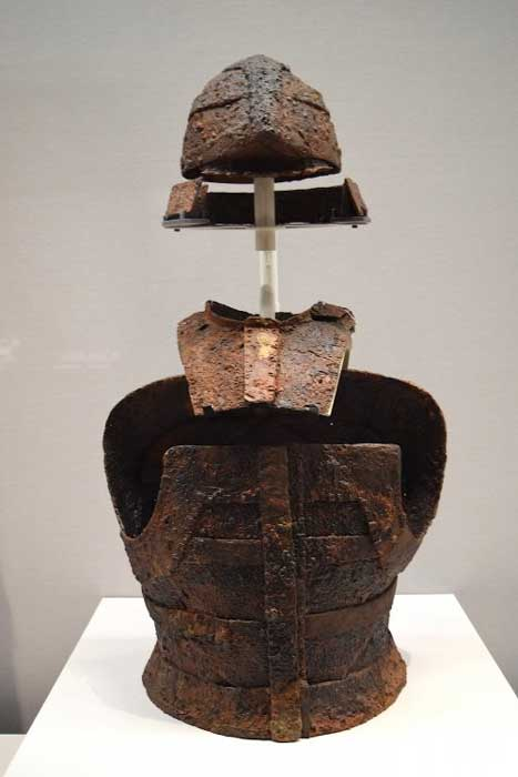 A Japanese iron plates and leather tankō cuirass. Nagatoronishi Tumulus, Takasaki-shi, Gunma. Kofun period