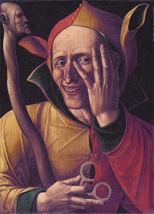 A Jester showing hat with donkey-like ears and staff. 'The Laughing Jester' 15th Century. Art museum of Sweden, Stockholm