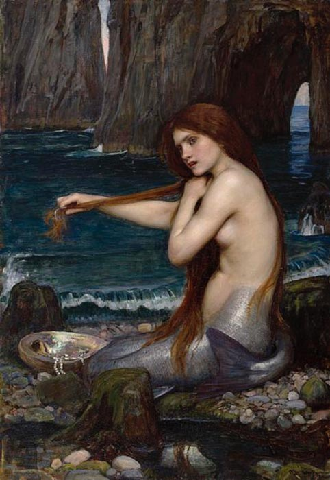 'A Mermaid' (1900) by  John Williams Waterhouse. Royal Academy of Arts. (Public Domain)