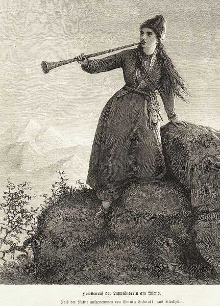 A Nordic Sami woman playing lur horn in the evening. Made after nature by Emma Edwall, Stockholm in Sweden. Mid 1800's. (Public Domain)