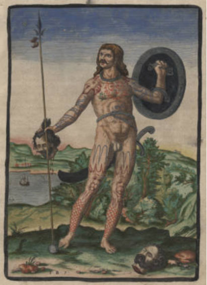 A Pictish Man Holding a Human Head by Theodore de Bry