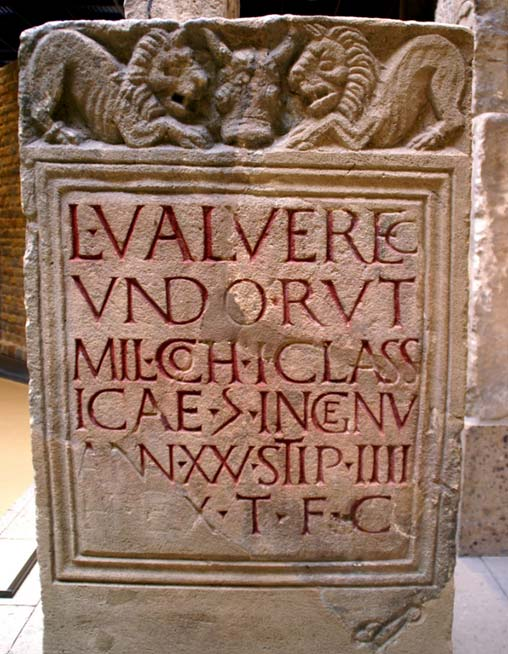 "A Roman gravestone. The inscription reads ""People remembered in nothing but fragments of language and verses of song..."" (Elena / flickr)"