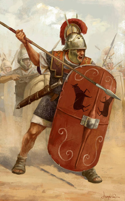 A Roman legionary with a pilum and scutum. (Triarii/Deviant Art)
