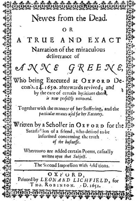 Title page of book 'A Scholler in Oxford' by R. Watkins about Anne Greene's revival. (Fæ / CC BY-SA 4.0)