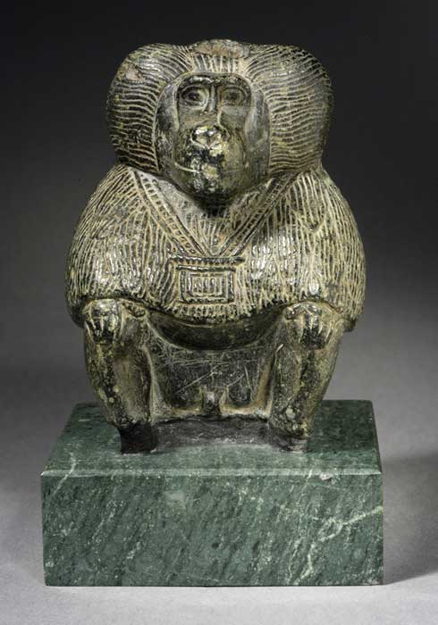 A Steatite sculpture of a seated                  Baboon representing the god of wisdom, Thoth. New                  Kingdom. Los Angeles County Museum of Art. (public                  domain)