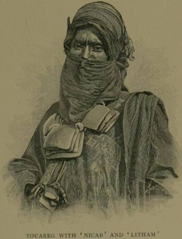 A Tuareg wearing the Tajelmust. French view of a Tuareg man from Timbuktu, c.1890s