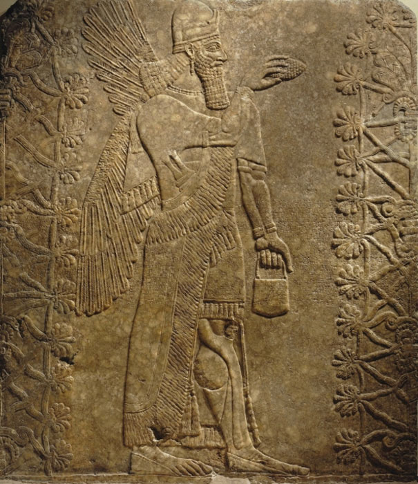 A Winged Genie relief, from Nimrud, Assyria (modern-day Iraq) has been sold for $31 million in New York. Neo-Assyrian Period. (Image: Brooklyn Museum)