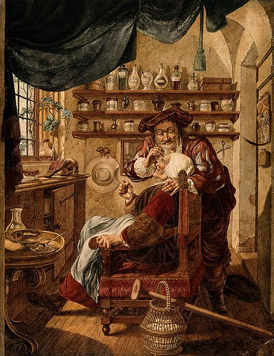 A barber-surgeon extracting stones from a woman's head; symbolizing the expulsion of 'folly'(insanity). Watercolor by J. Cats, 1787, after B. Maton. (Wellcome Images/CC BY 4.0)
