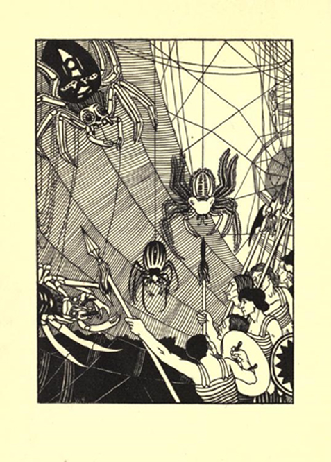 A battle scene, Beardsley's illustration in the 1894 edition of Lucian's A True History.