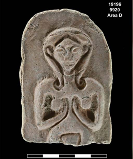 A carving found during excavations at Tel Rehov shows a fertility goddess. (Gabi Laron, Tel Rehov excavations / The Hebrew University of Jerusalem)