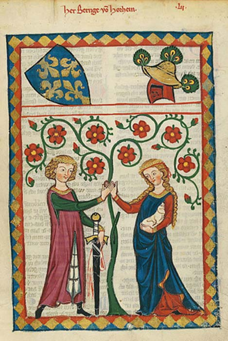 A couple in the 14th century document called the 'Manesse Codex.' (Public Domain)
