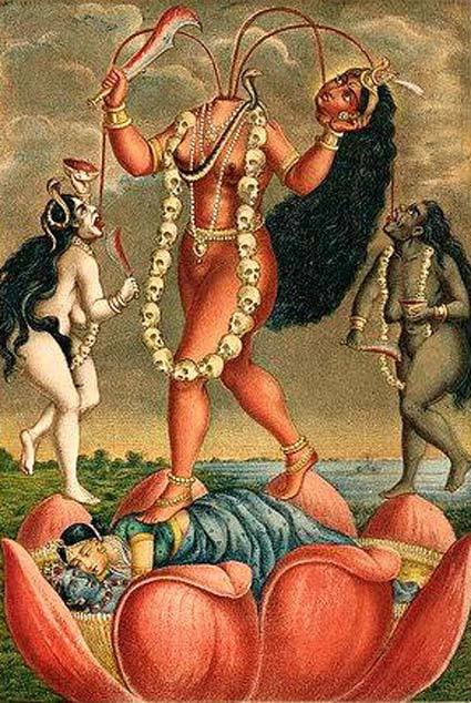 A decapitated, nude, Chinnamasta stands on a copulating couple inside a large lotus holding her severed head and a scimitar. Three streams of blood from her neck feed her head and two nude women hold a knife and a skull-cup, flanking her. (Public Domain)