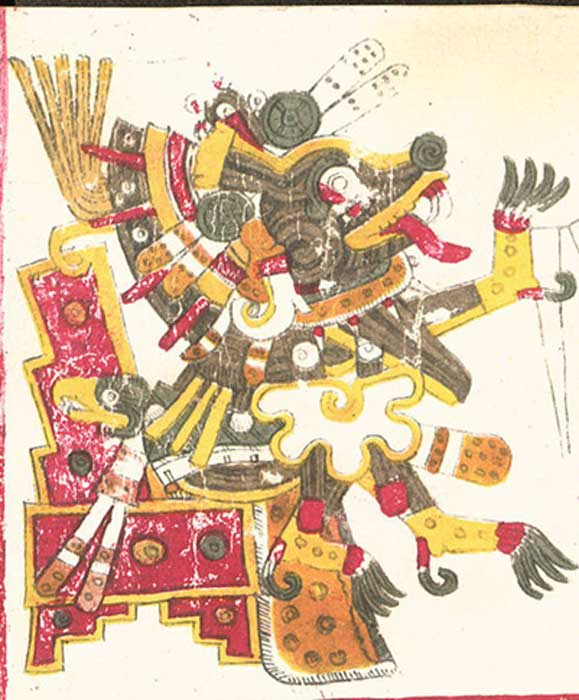 A drawing of Xolotl, one of the deities described in the Codex Borgia, Pre-Columbian. (Public Domain)