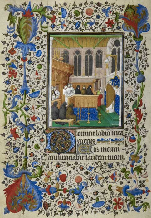 A funeral mass, with mourners, from a Book of Hours.