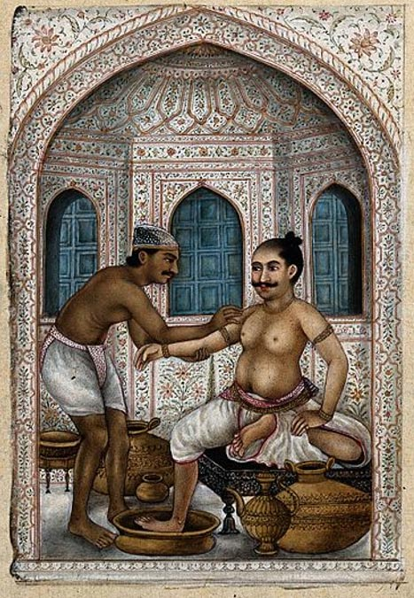 A ghulum (bath attendant) providing a customer with two Ayurvedic procedures – an oil massage (to nourish the nervous system) and hot steam (flushing toxins from the body).
