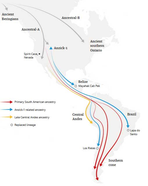 A graphical abstract of the study's presentation of migrations into the Americas. (Posth, C. et al. 2018)