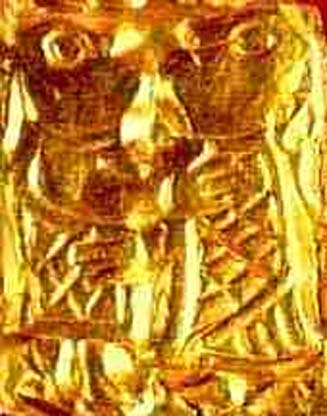 A guldgubbe, an amulet of gold from the iron age, found by Kongsvik, Nordland, Norway in 1747. It is thought to depict the Norse deities Frey and Gerðr.