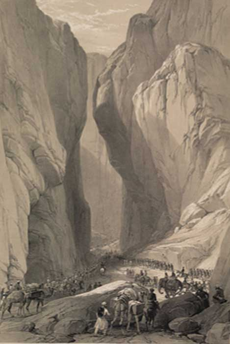 A historical sketch from 1842 of Bolan Pass, Balochistan, Pakistan. (Public Domain)